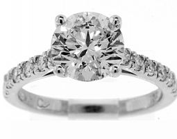 2.42 CT ROUND BRILLIANT ENGAGEMENT RING G/SI2 EXC EXC EXC