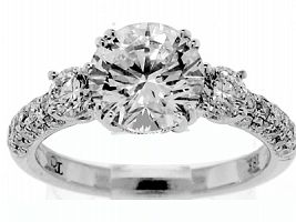 2.88 CT TW Round Brilliant Diamond Engagement Ring - GIA H/VS2