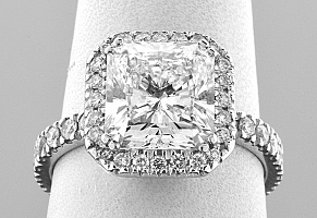 3.79 Carat GIA Radiant Cut - Platinum Halo Engagement Ring