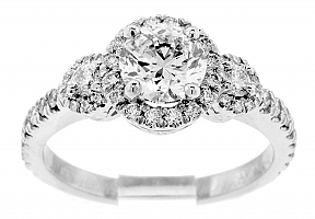1.61 Carat GIA Round Brilliant - Platinum Engagement Ring