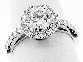 1.63 Carat GIA Round Brilliant - Platinum HALO Engagement Ring
