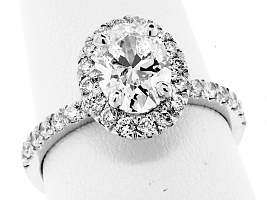 1.70 Carat GIA OVAL - Platinum HALO Engagement Ring