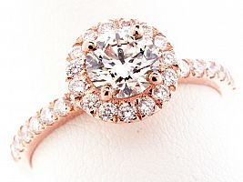 1.28 Carat GIA Round Brilliant - 18K Rose Gold HALO Engagement Ring