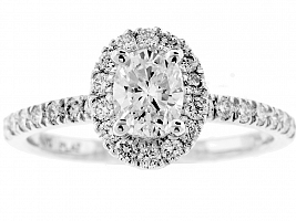 1.05 Carat GIA OVAL - Platinum HALO Engagement Ring