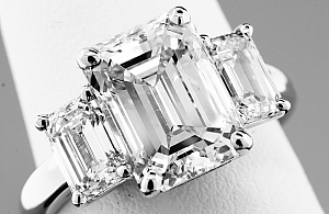 5.55 Carat GIA Three-Stone Emerald Cut Diamond -PLATINUM Engagement Ring
