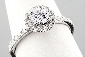 1.01 Carat TW GIA IDEAL CUT Diamond - WG HALO Engagement Ring