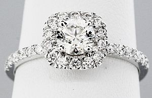 1.00 Carat TW GIA Round Brilliant Diamond - 14K WG HALO Engagement Ring