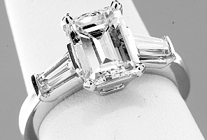 2.64 TW Carat GIA Three-Stone Emerald Cut Diamond Engagement Ring