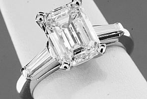 3.31 Carat GIA Emerald Cut Diamond Engagement Ring