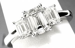 2.17 Carat TW Three-Stone EMERALD CUT Diamond Engagement Ring
