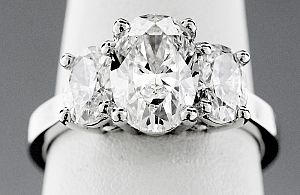 2.70 Carat GIA Three-Stone OVAL Diamond Engagement Ring