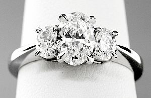 1.48 Carat GIA Three-Stone OVAL Engagement Ring