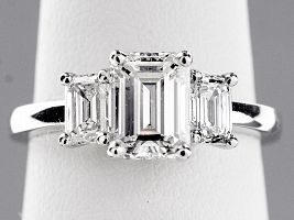 2.36 Carat GIA Three-Stone Emerald Cut Diamond Engagement Ring