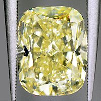 3.59 GIA Fancy Yellow Cushion Cut Diamond - FY/SI2+