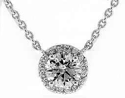 1.01 CT ROUND BRILLIANT DIAMOND HALO NECKLACE