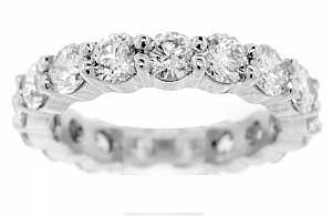 3.80 Carat TW Round Brilliant Diamond Eternity Ring