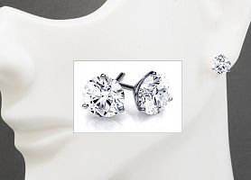 2.03 Carat TW GIA Certified IDEAL CUT Round Brilliant Diamond Stud Earrings - MARTINI Style Setting