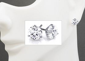 1.03 Carat TW Round Brilliant Diamond Stud Earrings - 14K WG Martini Setting