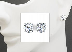 1.55 Carat TW Round Brilliant Diamond Stud Earrings