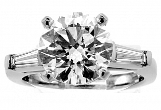 3.52 CT GIA IDEAL Cut Round Brilliiant Diamond Engagement Ring