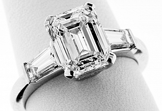 3.51 Carat GIA Emerald Cut Engagement Ring - PLATINUM