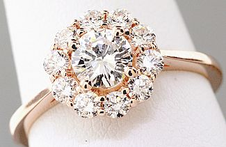 1.01 Carat TW GIA Round Brilliant - 14K ROSE Gold Halo Engagement Ring