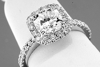 2.02 Carat TW GIA CUSHION Cut Diamond - Platinum HALO Engagement Ring
