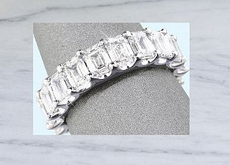 5.82 CT TW GIA GEM QUALITY Emerald Cut Diamond Eternity Ring