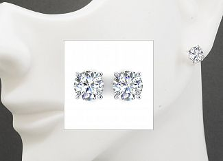 2.64 Carat TW Round Brilliant Diamond Stud Earrings